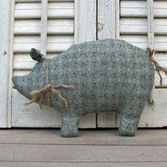 Calico Pig Bowl Filler - Country Pig - Primitive Pig - Blue - Primitive Decoration - Cottage Decor. $9.00, via Etsy.