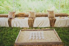 Rustic-Farm-Wedding-Seating-Hay-Bales  *This one has lots of good ideas too!  And it's sunflower themed!