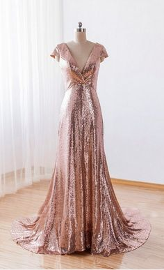 Elegant Vestido Lace Sequin Bridesmaid Dress Wedding Party Dress Prom  Dresss A Line Kissdress V Neck Short Sleeve Floor Lenght Cap Sleeve Court  Train Prom ... 3f0ba1753144