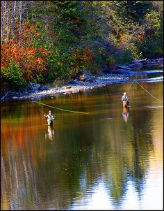 Shot this from the nearby covered bridge.  Autumn Anglers at work.  There was a painting made of this image  here.