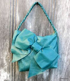 Leather Bow Bag in Turquoise Teal Petite Shoulder by stacyleigh