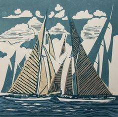 Image result for boat linocut