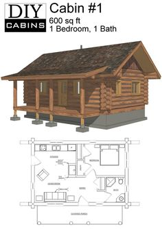 Log Cabin is a 600 sq ft, 1 bedroom and 1 bathroom design. Designed using a average log, this cabin is perfect for the simple getaway cabin. It also has a covered porch at the front. Add an optional wood burning fireplace to create the perfect feel. Small Cabin Plans, Small Log Cabin, Cabin House Plans, Cabin Floor Plans, Tiny House Cabin, Log Cabin Homes, Tiny House Living, Small House Plans, Log Cabins