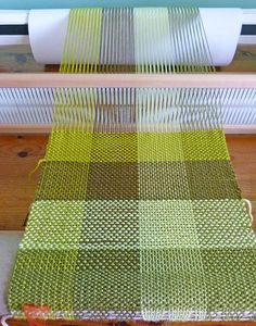 Green Woven Scarf - Rigid Heddle Loom