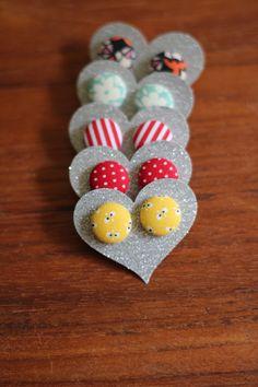 Fabric Button Earrings. $4.75, via Etsy.