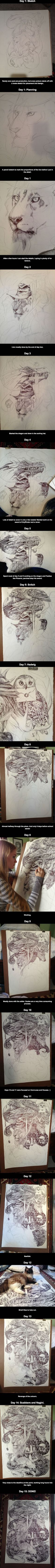 A massive Harry Potter themed drawing