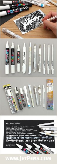 The JetPens White Ink Pen Sampler is great for artists, scrapbookers, and cartoonists. Try out a variety of white ink pens!