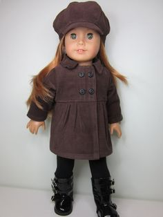 Chocolate brown corduroy pea coat by JazzyDollDuds $23