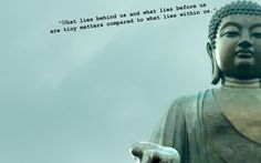 What lies behind us and what lies before us are tiny matters compared to what lies inside us ~ Buddha