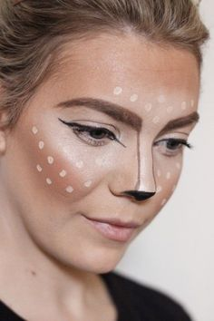 Want to look goon on Halloween but crunched for time? About about this sassy Deer Makeup tutorial that will transform you into a foxy fawn in 15 minutes! Deer Costume Diy, Deer Costume Makeup, Deer Halloween Makeup, Deer Makeup, Deer Costume For Kids, Reindeer Costume, Cowgirl Costume, Easy Adult Halloween Costumes, Homemade Halloween