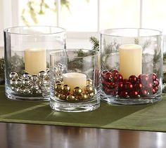 Christmas centerpieces using candles and fillers