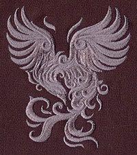 Baroque Punk Phoenix  Embroidered Cotton Kitchen Towel, Intricate Design
