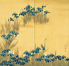 """Iris flowers"" screen with two panels by Sakai Hoitsu. Discover more Rimpa art at https://intojapanwaraku.com/EN/."
