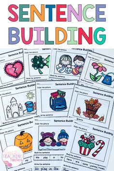 Are you teaching sentence structure to your Kindergarten or First Grade students? Do they need practice making sentences during Literacy lessons, Writing lessons, Literacy centers, or Writing centers? These sentence building worksheets are perfect for kinders and 1st graders. These sentence scramble activities are also no prep. These printables are ideal for 1st grade home school or homework too. This mega bundle features spring, summer, fall, winter, valentine's, easter, halloween and more! Writing Centers, Literacy Centers, Summer Fall, Fall Winter, Making Sentences, Sentence Building, Sentence Structure, Writing Lessons, First Grade