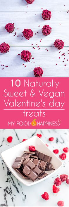 10 Refined sugar-free and vegan Valentine's day treats. Beautiful creations that are naturally sweet and stunning! The perfect vegan Valentine's day desserts! Desserts Végétaliens, Dessert Recipes, Sweet Recipes, Whole Food Recipes, Easy Recipes, Delicious Vegan Recipes, Yummy Food, Sugar Free Vegan, Valentines Day Desserts