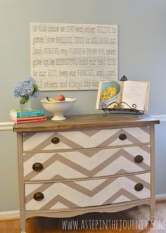 Repurposed Dresser to Chevron Kitchen Buffet with Butcher Block Top | remodelaholic.com #repurposed #butcherblock #chevron #paintit @Remodelaholic