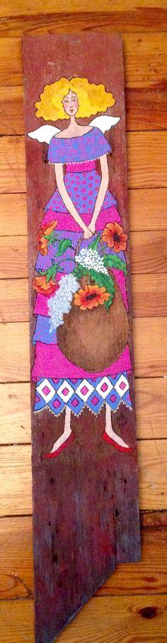 Garden angel...original acrylic painting on up-cycled barn board