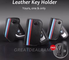 Cool BMW 2017: BMW Genuine Leather M-Color Stripe Pattern Leather Key Holder 1 3 4 5 6 7 Series
