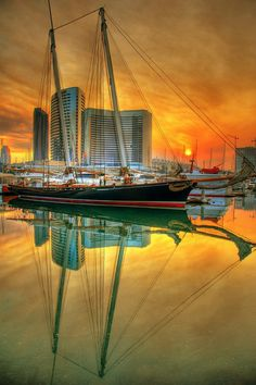 Schooner at sunset in San Diego.