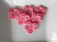 Crochet flower applique  Double layer in pink by needlepointnmore