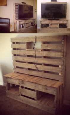 Pallet TV Cabinet we made this out of 2 Pallets, one in the back on legs to make it taller, and one cut in half, we cut out center board on each side all the way through then connected them and added a counter/shelves out of Cedar boards