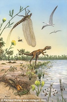 An illustration of some of the creepy crawlies during the Cretaceous period