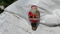 Vintage 1950's Santa Light Bulb *Prairie Farmhouse Chic Style *Shabby Cottage* by thebedpost02 on Etsy