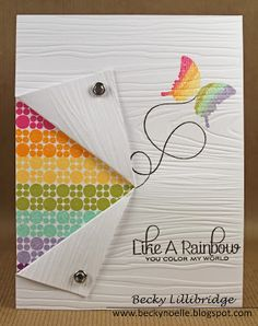 Like a Rainbow You Color My World Card - Flip back card - by Becky Lillibridge