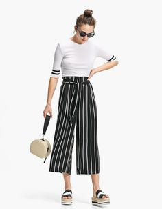 Tie Front Stripe Trouser - Trousers | Stradivarius United Kingdom