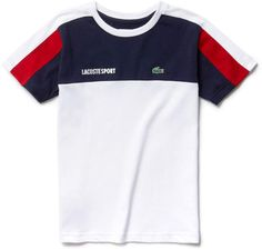 In ultra-dry technical jersey, this crew neck Lacoste Sport Tennis tee is brightened by iconic colorblocks. Lacoste Polo Shirts, Lacoste Men, Polo T Shirts, Boys Shirts, Sports Shirts, Shirt Print Design, Shirt Designs, Streetwear Jackets, Kids Outfits Girls