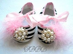 Baby Girl Crib Shoes Zebra Fancy Baby by TheBabyBellaBoutique, $22.50