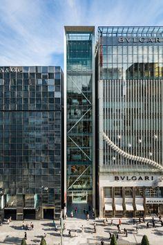 Glass Building, Tower Building, Building Facade, Japanese Architecture, Facade Architecture, Facade Design, House Design, Kitchen Design Open, Glass Facades