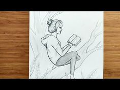 Girl Drawing Sketches, Girly Drawings, Easy Drawings, Pencil Drawings, Cool Paintings, Cute Art, Videos, Youtube, Crafts