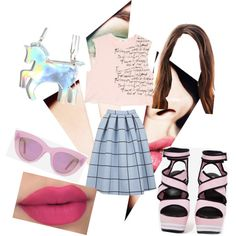 pretty in pink by popalah on Polyvore featuring polyvore fashion style MANGO Topshop Steve Madden Quay Eyeware Lime Crime