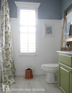 Bathroom next steps -- which wainscoting look?