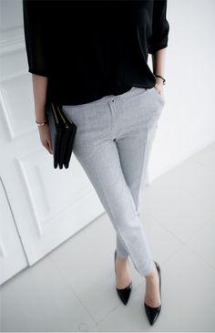black sweater, grey trousers, clutch & pumps #style #fashion #workwear