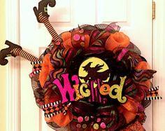 Only 2 left Halloween wreath Ghost wreath Boo by ADressyDoor
