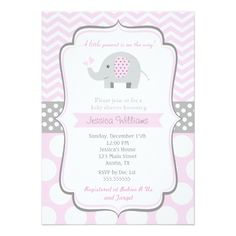 New pink elephant baby shower invitation babies babyshower elephant baby shower invitations for girl filmwisefo Gallery