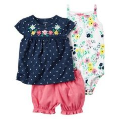 Baby+Girl+Carter's+Floral+Bodysuit,+Polka-Dot+Top+&+Bubble+Shorts+Set