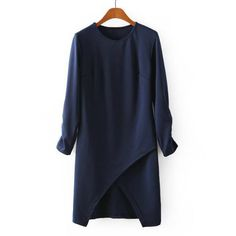 Stylish Round Collar Long Sleeve Solid Color Irregular Hem Women's Dress, DressLily.com