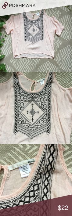 Nasty Gal Cold Shoulder Top Light pink color with black detailing. Has been worn twice. Nasty Gal Tops Blouses