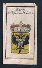 1740 - Mindelheim Fürst Wappen Kupferstich