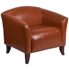 Relax in style with Flash Furniture Hercules Imperial Leather Chair. The sturdy chair features a hardwood frame and leather upholstery with foam-filled cushions. The elegant design boasts steamlined stitching and elevated feet for modern style. White Leather Chair, Leather Loveseat, Leather Lounge, Leather Chairs, Brown Leather, Online Furniture Stores, Furniture Deals, Furniture Chairs, Furniture Outlet