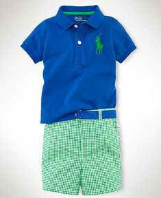 Ralph Lauren Baby Set, Baby Boys Polo Shirt and Gingham Shorts http://ralphpoloshirts.tumblr.com/