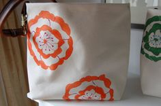 Canvas Tote Bag Leather Handle Orange and by MaineUptownStudio, $68.00
