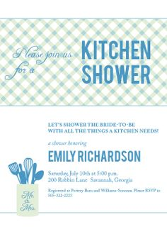 Kitchen Bridal Shower Invitations. Instantly Preview Your Card In Your Colors.