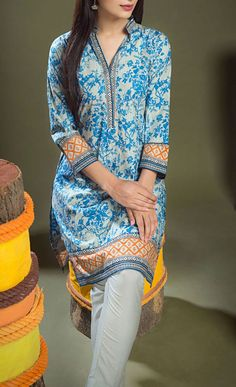 Buy Grey/Blue Cotton Dress by Khaadi 2015.