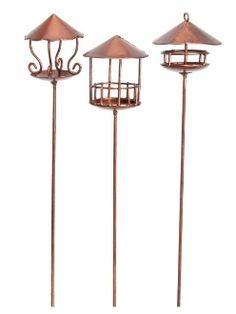 Copper Birdfeeders (Set of Three) For Fairy Garden