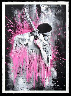"Mr Brainwash ""JIMI"" silkscreen print (edition of 70) in pink"
