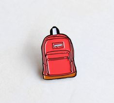 """Pink Jansport Backpack Lapel Pin - 1.25"""" soft enamel, 90s nostalgia by TheSilverSpider on Etsy"""
